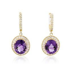 14KT Yellow Gold 13.60 ctw Amethyst and Diamond Earrings