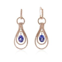 14KT Rose Gold 2.50 ctw Tanzanite and Diamond Earrings