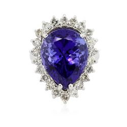 14KT White Gold GIA Certified 13.39 ctw Tanzanite and Diamond Ring