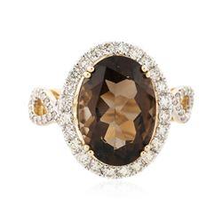 14KT Yellow Gold 5.40 ctw Smokey Topaz and Diamond Ring