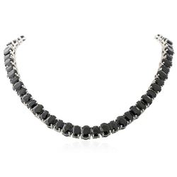 SILVER 125.32 ctw Blue Sapphire Necklace