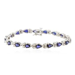 14KT White Gold 7.74 ctw Sapphire and Diamond Bracelet