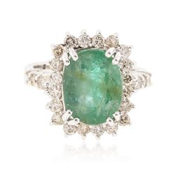 14KT White Gold 3.96 ctw Emerald and Diamond Ring
