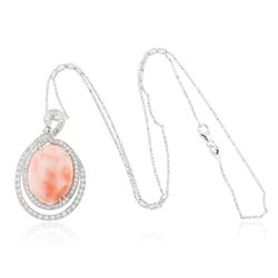 14KT White Gold 15.77 ctw Coral and Diamond Pendant With Chain
