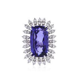 14KT White Gold GIA Certified 26.81 ctw Tanzanite and Diamond Ring