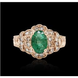 14KT Rose Gold 1.36 ctw Emerald and Diamond Ring