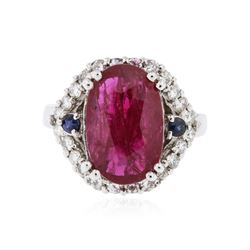 14KT White Gold 3.41 ctw Ruby, Sapphire and Diamond Ring
