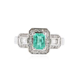 14KT White Gold 0.90 ctw Emerald and Diamond Ring