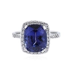 18KT White Gold 4.29 ctw Tanzanite and Diamond Ring