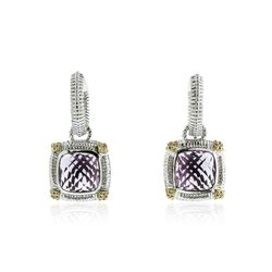 Sterling Silver 6.30 ctw Amethyst and Diamond Earrings