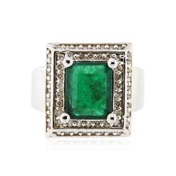 14KT White Gold 3.02 ctw Emerald and Diamond Ring