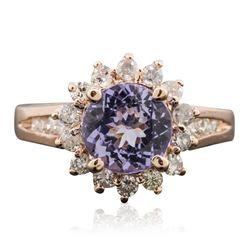 14KT Rose Gold 1.63 ctw Tanzanite and Diamond Ring