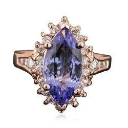14KT Rose Gold 3.06 ctw Tanzanite and Diamond Ring