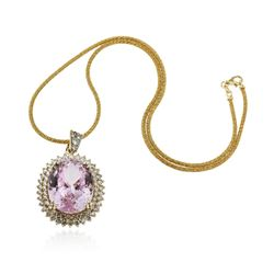 14KT Yellow Gold GIA Certified 59.31 ctw Kunzite and Diamond Pendant With Chain