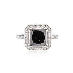 14KT White Gold 4.10 ctw Black Diamond Ring