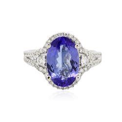 18KT White Gold 3.59 ctw Tanzanite and Diamond Ring