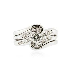 14KT White Gold 0.85 ctw Diamond Wedding Ring Set