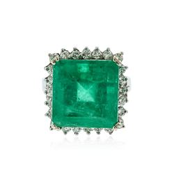 14KT White Gold 12.76 ctw Emerald and Diamond Ring