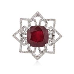 14KT White Gold 11.02 ctw Ruby and Diamond Ring