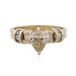 14KT Yellow Gold 1.38 ctw Pear Cut Diamond Ring