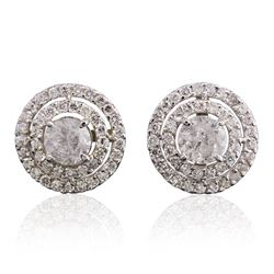 14KT White Gold 2.58 ctw Diamond Earrings