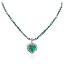14-18KT White Gold 23.29 ctw Emerald and Diamond Necklace