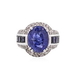 14KT White Gold GIA Certified 11.29 ctw Sapphire and Diamond Ring