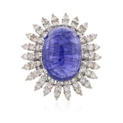14KT White Gold 16.78 ctw Tanzanite and Diamond Ring