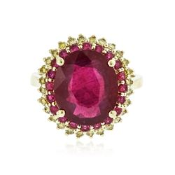 14KT Yellow Gold 7.44 ctw Ruby and Diamond Ring