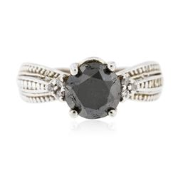 14KT White Gold 1.88 ctw Black Diamond Ring