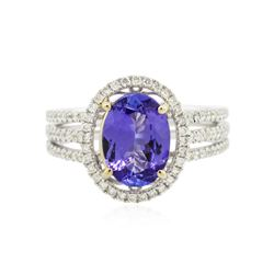 14KT White Gold 2.14 ctw Tanzanite and Diamond Ring