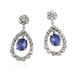 14KT White Gold 7.22 ctw Tanzanite and Diamond Earrings