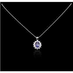 14KT White Gold 2.70 ctw Tanzanite and Diamond Pendant With Chain