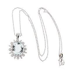 14KT White Gold 6.73 ctw Aquamarine and Diamond Pendant With Chain