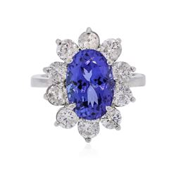 14KT White Gold 4.89 ctw Tanzanite and Diamond Ring