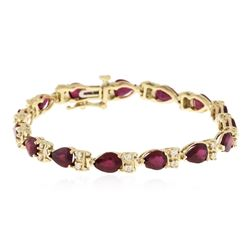 14KT Yellow Gold 11.40 ctw Ruby and Diamond Bracelet