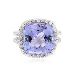 14KT White Gold 9.07 ctw Tanzanite and Diamond Ring