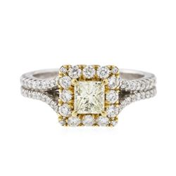 18KT Two-Tone Gold 0.83 ctw Fancy Yellow Diamond Ring