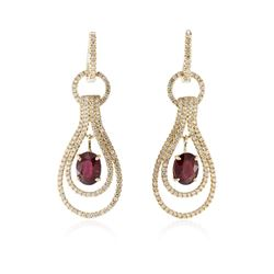 14KT Yellow Gold 3.02 ctw Ruby and Diamond Earrings