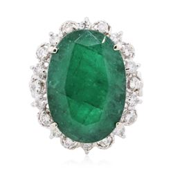 14KT White Gold 13.35 ctw Emerald and Diamond Ring