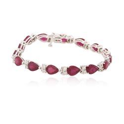 14KT White Gold 18.15 ctw Ruby and Diamond Bracelet