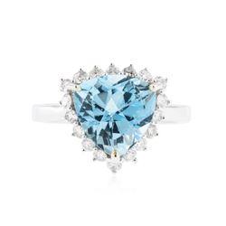 14KT White Gold 4.47 ctw Blue Topaz and Diamond Ring