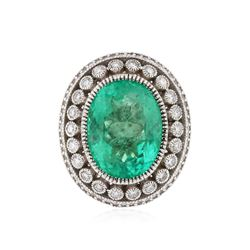 18KT White Gold 13.35 ctw Emerald and Diamond Ring