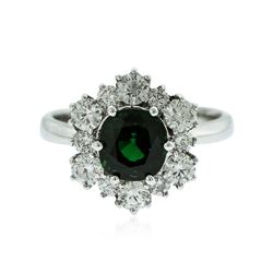 14KT White Gold 1.49 ctw Green Tourmaline and Diamond Ring
