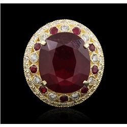 14KT Yellow Gold 12.34 ctw Ruby and Diamond Ring