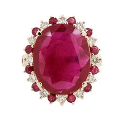 14KT Yellow Gold 9.07 ctw Ruby and Diamond Ring