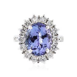 14KT White Gold 7.59 ctw Tanzanite and Diamond Ring