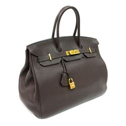 Authentic Vintage Hermes 35cm Birkin Bag in Chocolate Clemence Leather with Gold