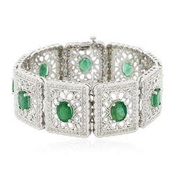 14KT White Gold 12.42 ctw Emerald and Diamond Bracelet