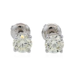 14KT White Gold 0.98 ctw Diamond Solitaire Earrings